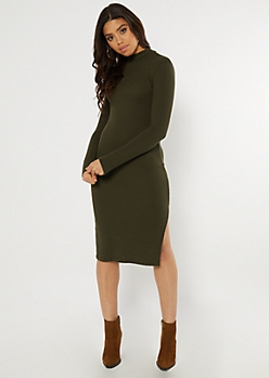 Olive Ribbed Knit Mock Neck Midi Dress