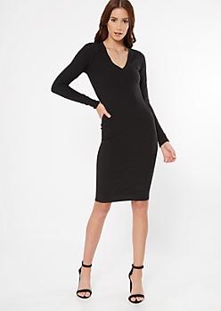Black Ribbed V Neck Midi Dress