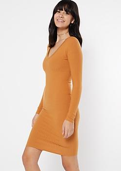 Mustard Ribbed V Neck Midi Dress