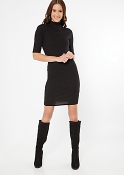 Black Ribbed Knit Mock Neck Midi Dress