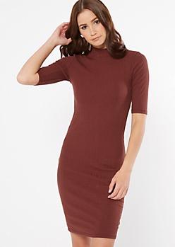 Brown Ribbed Knit Mock Neck Midi Dress