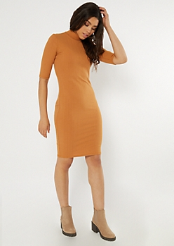 Camel Ribbed Knit Mock Neck Midi Dress