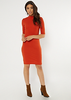 Orange Ribbed Knit Mock Neck Midi Dress