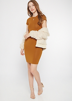 Cognac T Shirt Bodycon Dress