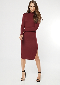 Burgundy Mock Neck Side Slit Midi Sweater Dress