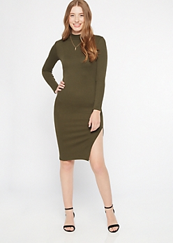 Olive Mock Neck Side Slit Midi Sweater Dress