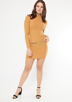 Camel Ribbed Knit Mock Neck Bodycon Dress