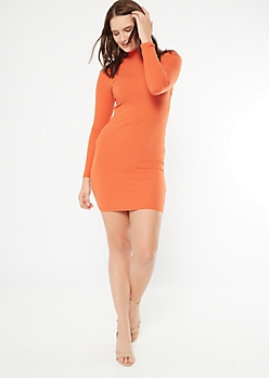 Orange Ribbed Knit Mock Neck Bodycon Dress
