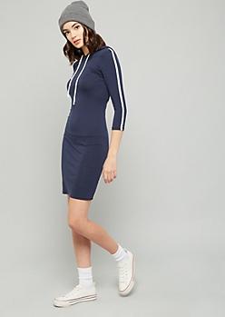 Navy Side Striped Hooded Mini Dress