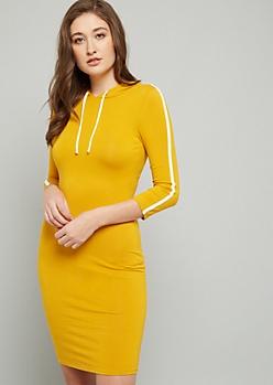 Mustard Side Striped Hooded Mini Dress