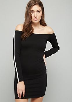 Black Side Striped Off The Shoulder Mini Dress