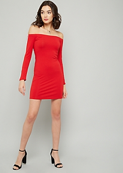 Red Side Striped Off The Shoulder Mini Dress