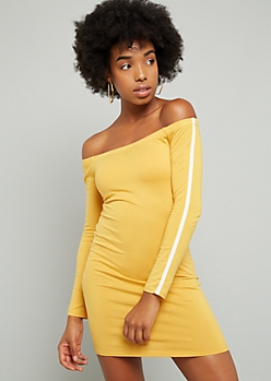 Yellow Side Striped Off The Shoulder Mini Dress