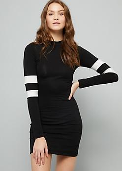 Black Varsity Striped Long Sleeve Mini Dress