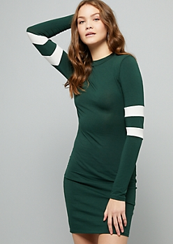 Green Varsity Striped Long Sleeve Mini Dress