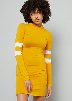 Mustard Varsity Striped Long Sleeve Mini Dress