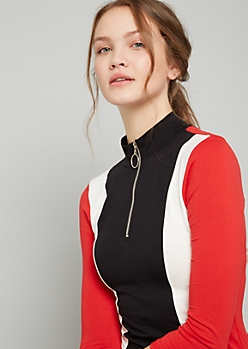 Black Colorblock Striped Half Zip Mini Dress