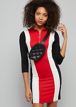 Red Colorblock Striped Half Zip Mini Dress