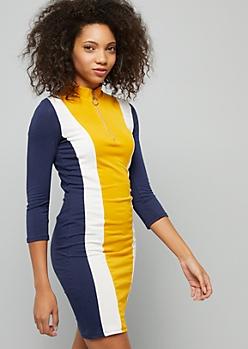 Mustard Colorblock Striped Half Zip Mini Dress