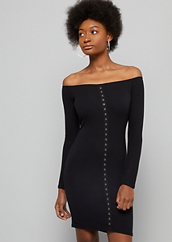 Black Ribbed Knit Snap Long Sleeve Bodycon Dress