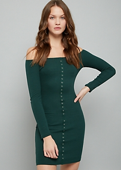 Green Ribbed Knit Snap Long Sleeve Bodycon Dress