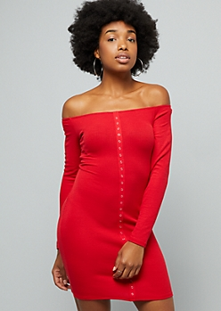 Red Ribbed Knit Snap Long Sleeve Bodycon Dress