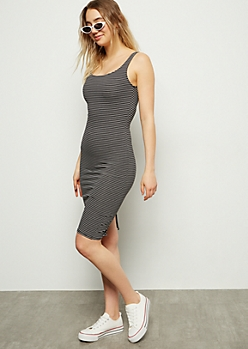 Black Striped Back Slit Midi Bodycon Dress