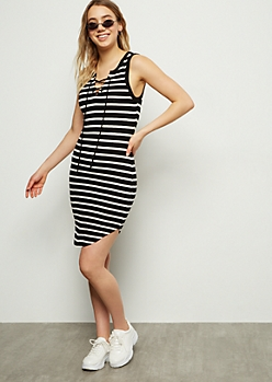 Black Striped Lace Up Ribbed Knit Dress