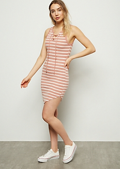 Pink Striped Lace Up Ribbed Knit Dress