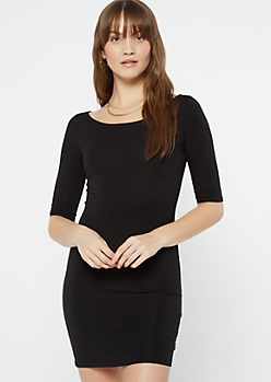 Black Scoop Neck Bodycon Dress