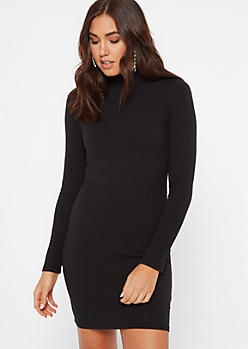 Black Ribbed Knit Mock Neck Bodycon Dress