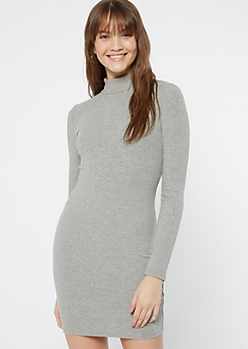 Heather Gray Ribbed Mock Neck Bodycon Dress
