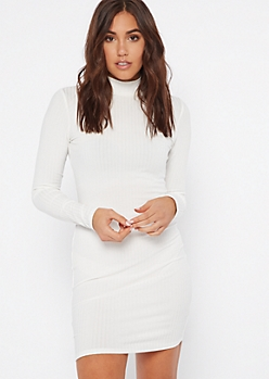 White Ribbed Mock Neck Bodycon Dress