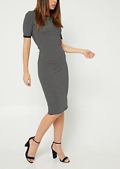 Black Striped Fitted Midi Dress