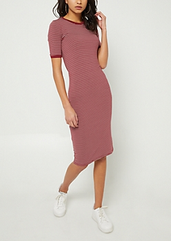 Burgundy Striped Fitted Midi Dress
