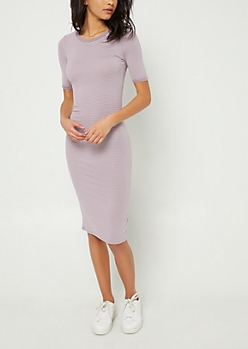 Lavender Striped Fitted Midi Dress