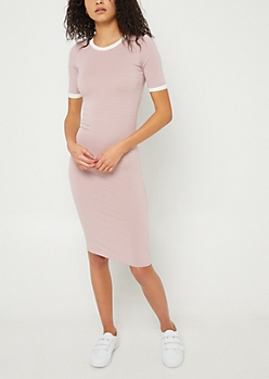 Pink Striped Fitted Midi Dress