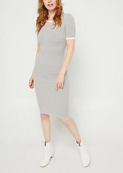 White Striped Fitted Midi Dress