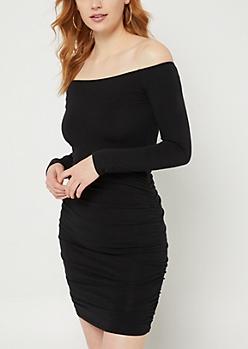Black Off Shoulder Ruched Bodycon Dress