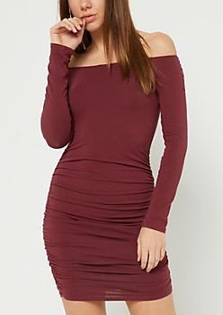 Burgundy Off Shoulder Ruched Bodycon Dress