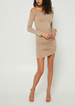 Taupe Off Shoulder Ruched Bodycon Dress
