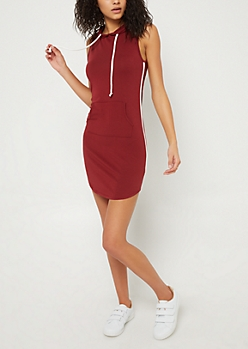 Burgundy Varsity Hoodie Dress