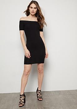 Black Short Sleeve Off The Shoulder Ribbed Mini Dress