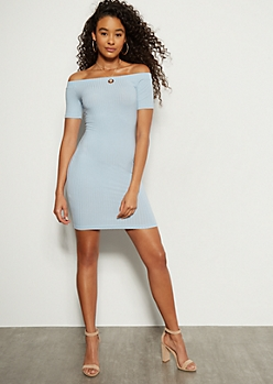 Light Blue Off The Shoulder Ribbed Knit Mini Dress