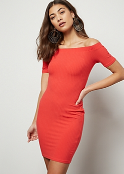 Red Off The Shoulder Ribbed Knit Mini Dress