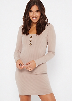 Taupe Scoop Neck Buttoned Ribbed Knit Dress