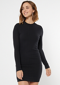 Black Ribbed Knit Mock Neck Dress