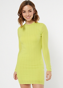 Light Green Ribbed Knit Mock Neck Midi Dress