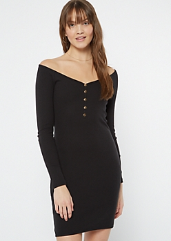 Black Wide Neck Ribbed Henley Dress