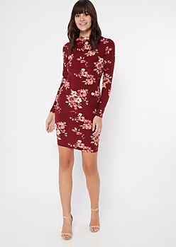 Burgundy Floral Print Super Soft Mock Neck Midi Dress